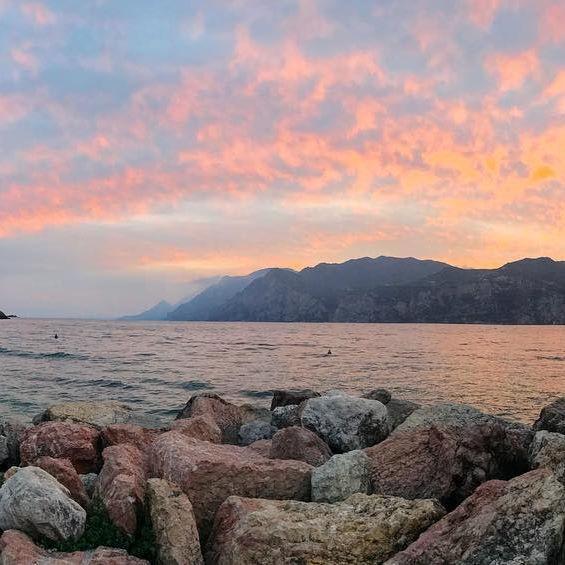 Fairy sunset in Malcesine on #gardalake